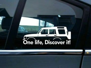 2x 'One Life Discover it! silhouette stickers for Land Rover Discovery | classic