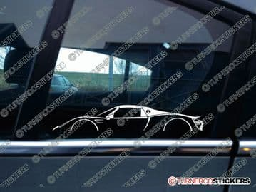 2x sports Car Silhouette sticker - Porsche 918 Spyder, hybrid supercar