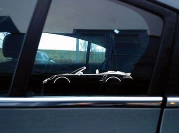 2x sports Car Silhouette stickers - Porsche 911 Turbo Cabriolet ( 991 ) | convertible