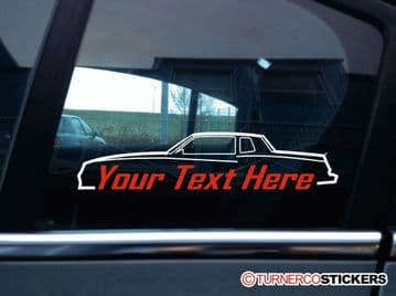 2x (two)  Custom, YOUR TEXT Chevrolet Monte Carlo SS (G-Body 1982-1988) car STICKERS