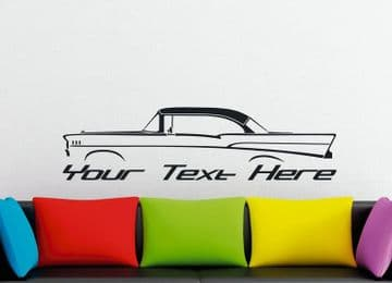 Large Custom car silhouette wall sticker - for 1957 Chevrolet Bel-Air HARDTOP coupe classic  vintage