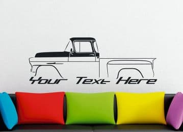 Large Custom car silhouette wall sticker -for 1958 Chevrolet Apache stepside classic pickup truck