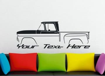 Large Custom car silhouette wall sticker for 1960 Chevrolet C10 Apache stepside classic pickup