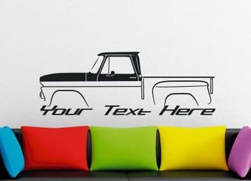 Large Custom car silhouette wall sticker for 1964 Chevrolet C10 Apache stepside classic pickup