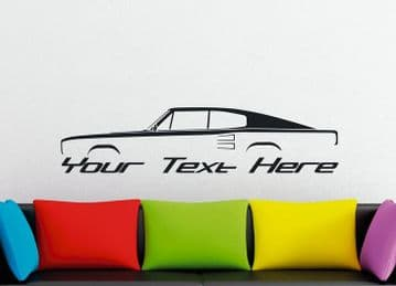 Large Custom car silhouette wall sticker -for 1966-67 Dodge Charger 440 | Hemi | classic muscle car