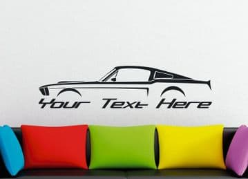 Large Custom car silhouette wall sticker - for 1967, 1968Ford Mustang Shelby Fastback | 1st classic