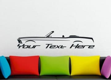 Large Custom car silhouette wall sticker - for 1969 Ford Mustang Convertible (stock) | classic