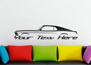 Large Custom car silhouette wall sticker - for 1969 Ford Mustang Fastback | 1st classic