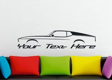 Large Custom car silhouette wall sticker - for 1971-1973 Ford Mustang Fastback | 1st classic