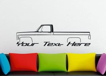 Large Custom car silhouette wall sticker -for 1973 C20 / C10 Silverado LONG BED classic pickup truck