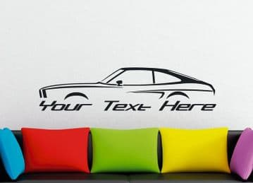 Large Custom car silhouette wall sticker -for 1974-1978 Ford Mustang II 2nd gen hatch | classic