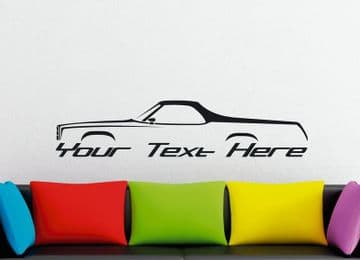 Large Custom car silhouette wall sticker - for 1974 Chevrolet EL Camino 4th gen classic | vintage