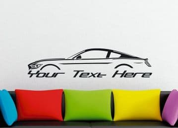 Large Custom car silhouette wall sticker - for  2015-2017 Ford Mustang GT | S550