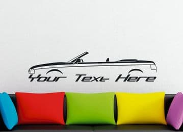 Large Custom car silhouette wall sticker - for Audi Cabriolet / convertible B4 classic
