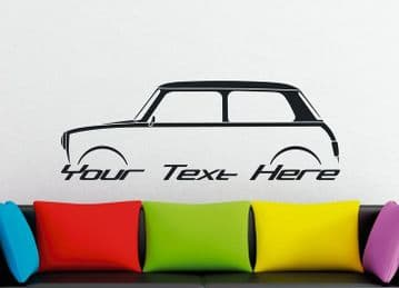 Large Custom car silhouette wall sticker - for Austin Mini Cooper, classic