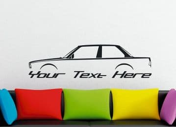 Large Custom car silhouette wall sticker - for BMW e30 3-series 318is, 318i 320i 325i coupe classic
