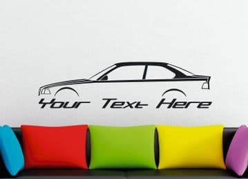 Large Custom car silhouette wall sticker - for BMW M3 ,E36 coupe