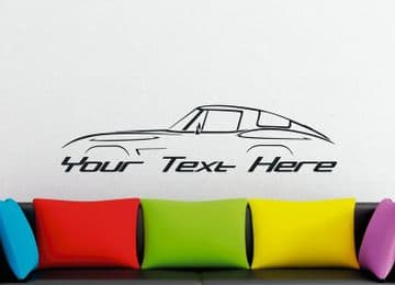 Large Custom car silhouette wall sticker -for  Chevrolet Corvette C2 classic coupe