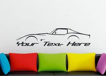 Large Custom car silhouette wall sticker -for  Chevrolet Corvette C3 classic coupe