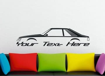 Large Custom car silhouette wall sticker - for Ford Mustang 1979-1986 fox body hatchback