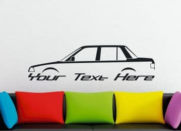 Large Custom car silhouette wall sticker -for Honda Civic ballade sedan , 3rd gen 1984-1987 | retro