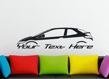 Large Custom car silhouette wall sticker - for Honda Civic FN hatchback 2006-2011 (8th gen EURO)