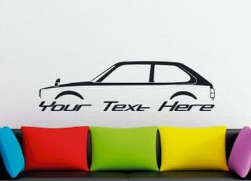 Large Custom car silhouette wall sticker - for Honda Civic hatch 3-DOOR, 2nd gen 1980-1983 | retro