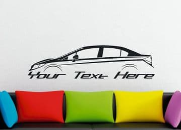Large Custom car silhouette wall sticker - for Honda Civic sedan FB | 9th gen