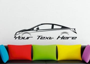 Large Custom car silhouette wall sticker - for Honda Civic SI coupe   9th gen