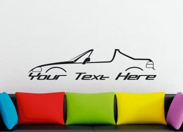 Large Custom car silhouette wall sticker - for Honda Del Sol CRX | open | vtec retro classic sports