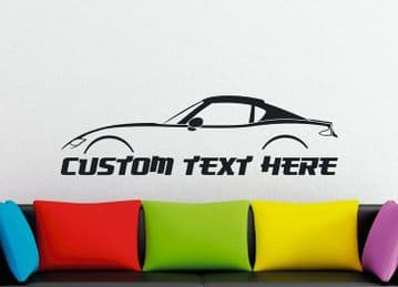 Large Custom car silhouette wall sticker - for Mazda MX5 / Miata RF Coupe (closed top) ND   4th gen