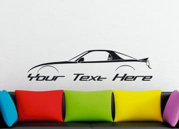 Large Custom car silhouette wall sticker - for Mazda RX7 , FD (3rd gen)   rotary turbo