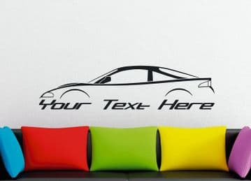 Large Custom car silhouette wall sticker - for Mitsubishi Eclipse 2G  , RS GS GST (No rear spoiler)
