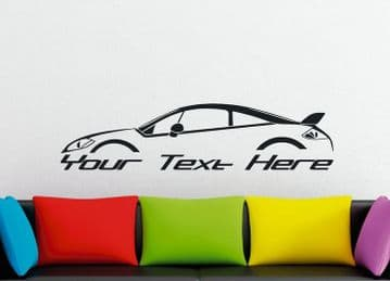 Large Custom car silhouette wall sticker - for Mitsubishi Eclipse 4G  , GT SE coupe (large spoiler)
