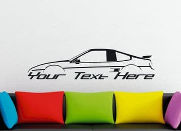Large Custom car silhouette wall sticker - for Pontiac Fiero GT coupe, fastback | 80s sports car
