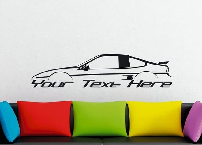 Large Custom car silhouette wall sticker - for Pontiac Fiero GT coupe, fastback   80s sports car