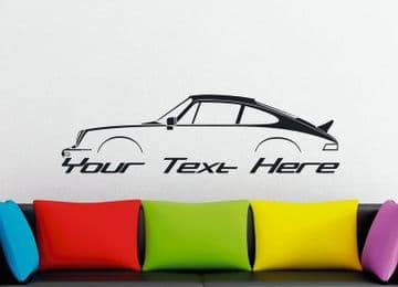 Large Custom car silhouette wall sticker - for Porsche 911 ( 930 ) with ducktail | classic