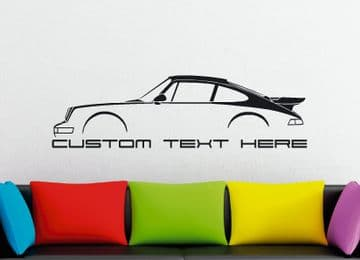 Large Custom car silhouette wall sticker - for Porsche 911 Turbo, 964 (1990–1994) air cooled classic
