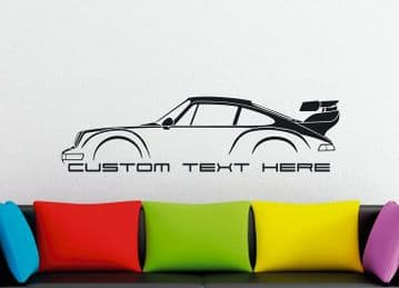 Large Custom car silhouette wall sticker - for Porsche 911 Turbo 964 RWB style