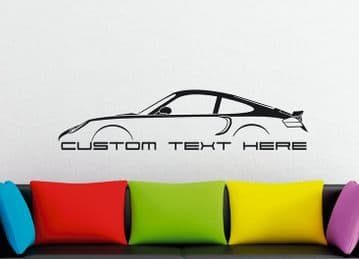Large Custom car silhouette wall sticker - for Porsche 911 Turbo, 996 (2000–2005)