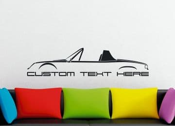 Large Custom car silhouette wall sticker - for Porsche 914 ( roof / top off) classic