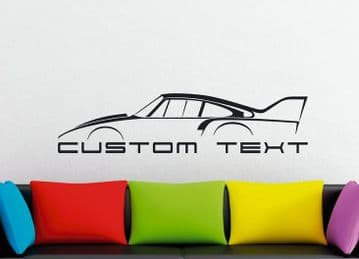 Large Custom car silhouette wall sticker - for Porsche 935 /77 2.0 SLANT NOSE 911 classic race car