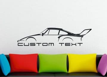 Large Custom car silhouette wall sticker - for Porsche 935 Turbo SLANT NOSE 911