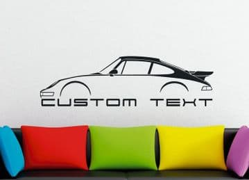 Large Custom car silhouette wall sticker - for Porsche 964 Turbo SLANT NOSE 911