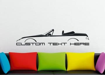 Large Custom car silhouette wall sticker - for Porsche 968 cabrio / convertible | classic