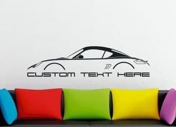 Large Custom car silhouette wall sticker - for Porsche Cayman Coupe (987)