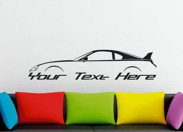 Large Custom car silhouette wall sticker - for Toyota Supra Turbo Mk4 (with spoiler | wing)