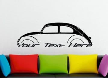 Large Custom car silhouette wall sticker - for VW Beetle 50s oval | classic | vintage bug