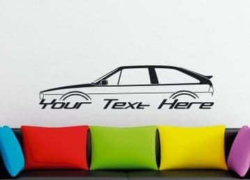 Large Custom car silhouette wall sticker - for VW Scirocco Mk2 (with spoiler) | classic sports car