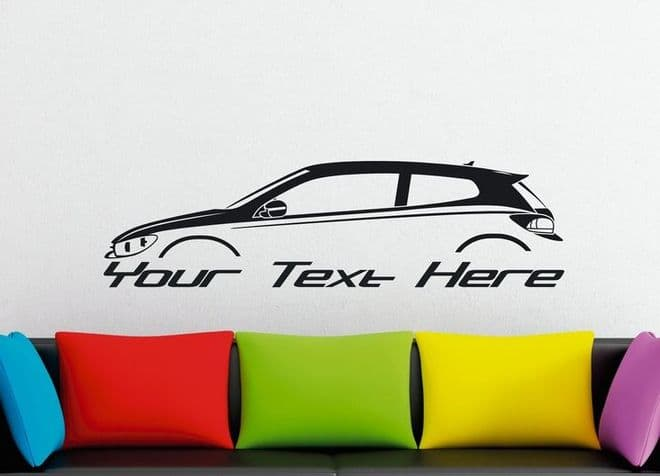 Large Custom car silhouette wall sticker - for VW Scirocco Mk3   classic sports car